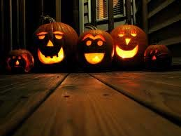 Carved Pumpkins on Porch