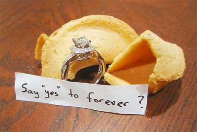 engagement ring in fortune cookie